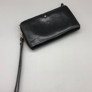 Kate Spade black leather zippy wristlet wallet